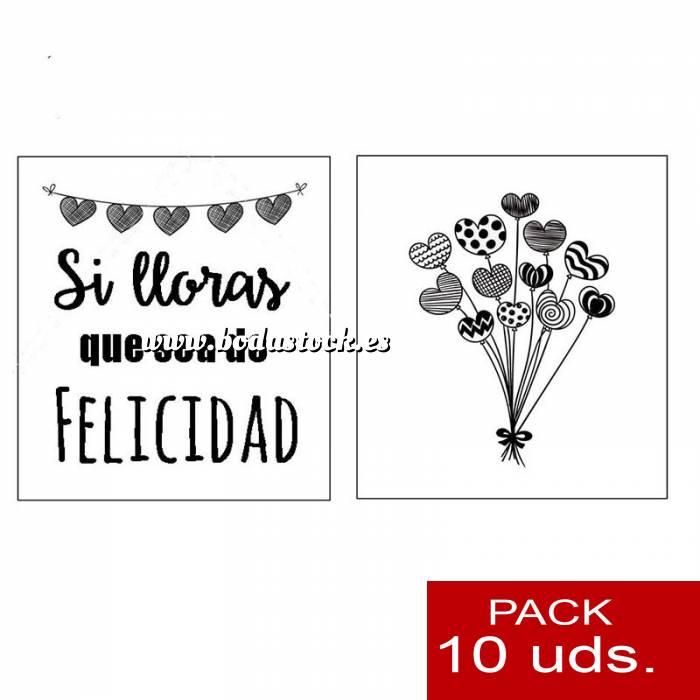 Imagen Detalles para la ceremonia Pañuelos en sobre kraft, con bolsita de celofan PACK DE 10 - Si lloras que sea de felicidad (RAMO DE GLOBOS)