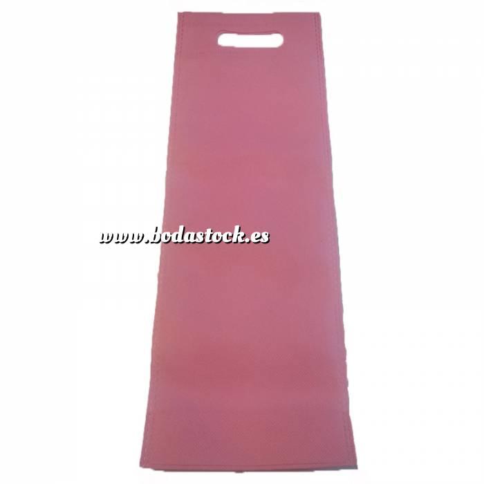 Imagen Tamaño 37.5x49.5 con asa Bolsa de textil no tejido (NON WOVEN) ROSA CLARO 37x15 cm con asa troquelada (ideal para alpargatas o botellas)