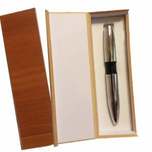 Prácticos mujer - Bolígrafo plateado Mod. 3 con detalle negro y en caja de madera