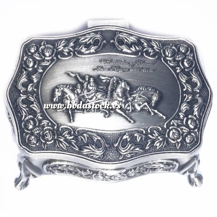 Imagen Bandejas y Cofres Cofre Metal Carro Caballos 8,5x6,5x3