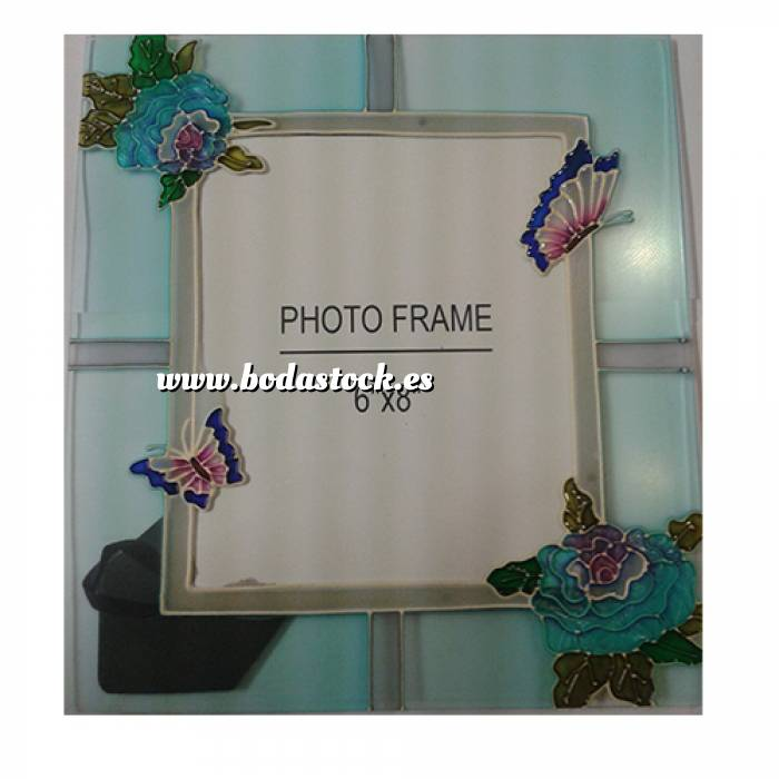 Marco De Fotos Cristal Decorado Con Flores Y Mariposas