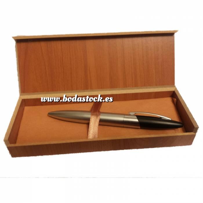 Imagen Prácticos mujer Bolígrafo plateado y negro Mod. 4 en caja de madera