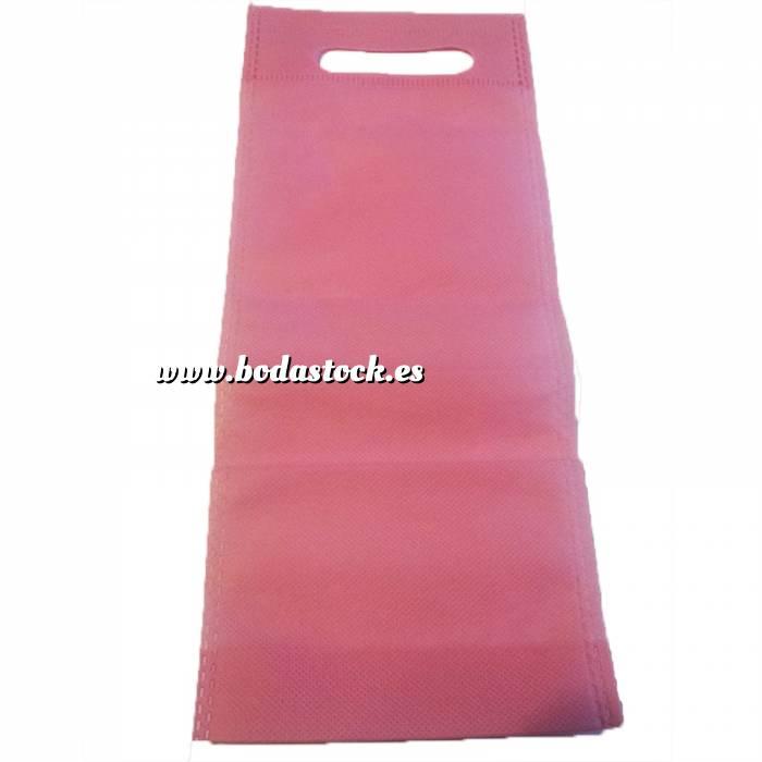 Imagen Tamaño 37.5x49.5 con asa Bolsa de textil no tejido (NON WOVEN) ROSA CLARO para vino (medidas 32 x 13 cm - capacidad 27 x 11,5 cm)