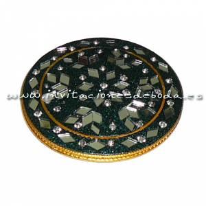 Espejos, Joyeros y Bisuteria - Espejo india redondo (rebordes verdes)